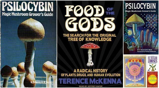 The McKenna brothers published their mushroom-growing guide using the pseudonyms O.T. Oss and O.N. Oeric. Also shown are audiobook/foreign editions of 'Food of the Gods' (1992).