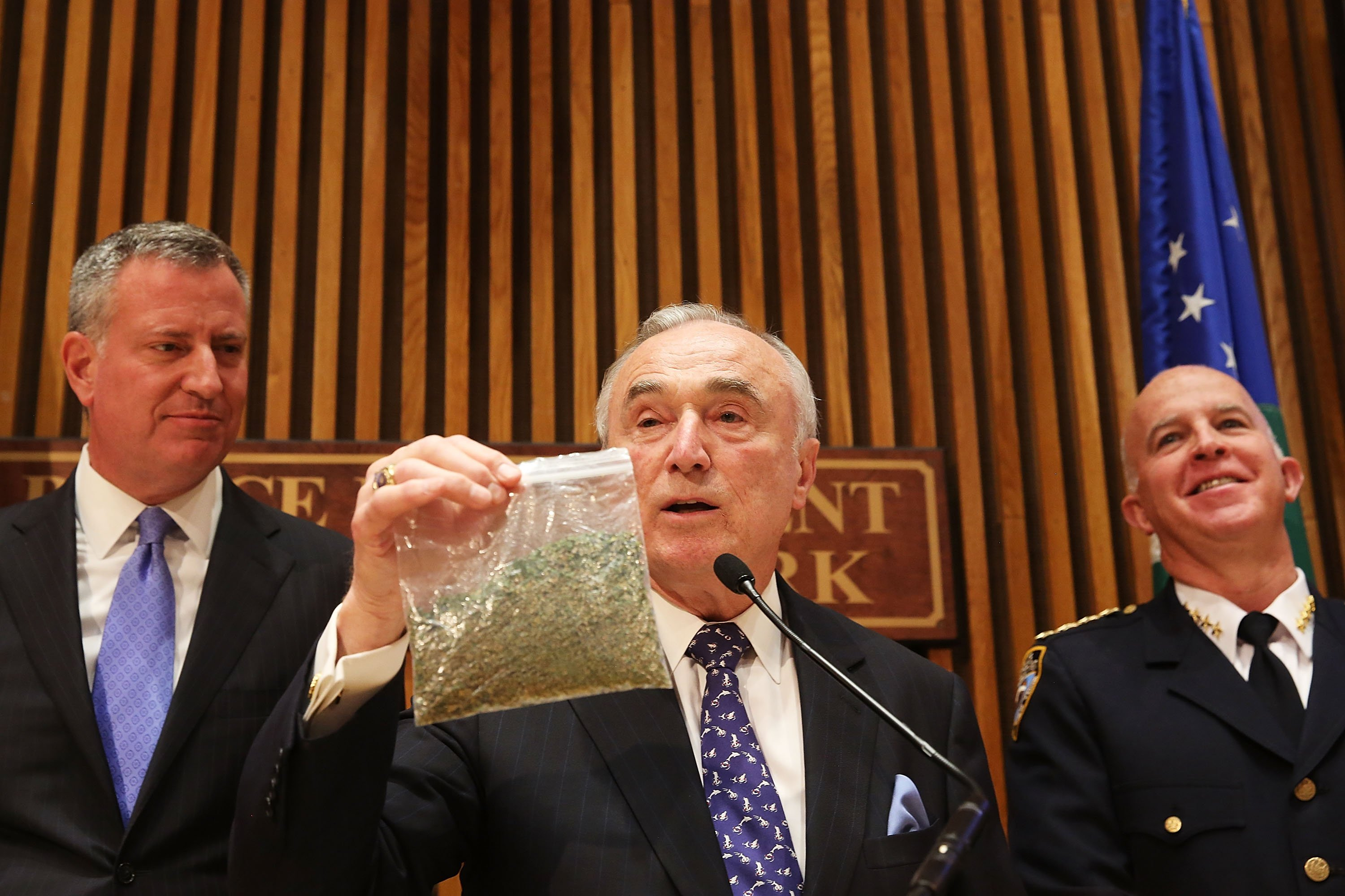NY Mayor De Blasio And NYPD Commissioner Bratton Announces Changes To Marijuana Policy