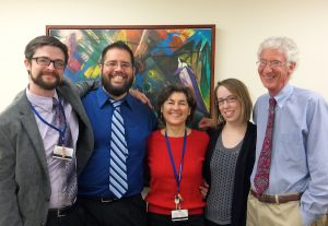Some members of the Johns Hopkins University School of Medicine psilocybin research team. From left to right: Matthew W. Johnson, Ph.D., Associate Professor; Albert Garcia-Romeu, Ph.D., Postdoctoral Fellow; Mary P. Cosimano, M.S.W., Guide and Senior Research Program Coordinator; Margaret A. Klinedinst, B.S., Senior Research Program Supervisor; and Roland R. Griffiths, Ph.D., Professor. Photo credit: August F. Holtyn, Ph.D.