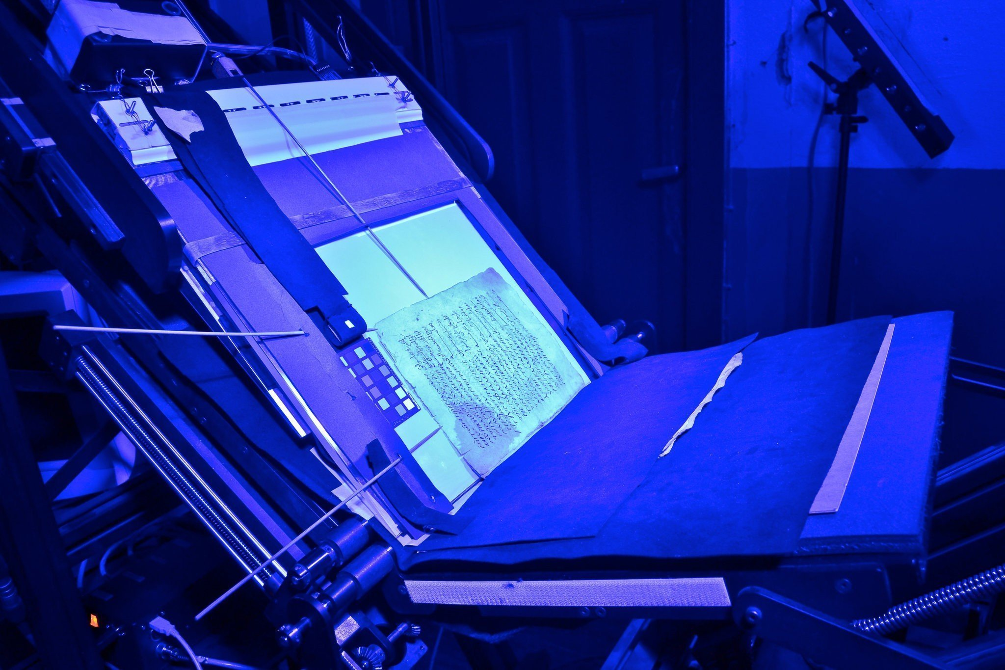 Spectral imaging of an ancient manuscript leaf at St. Catherine's.CreditMark Schrope