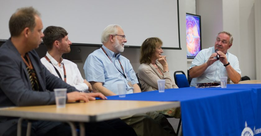 Professor David Nutt (right) at Breaking Convention, taking part in panel session with other key researchers in the field. From left to right: Dr. Ben Sessa, Dr. Robin Carhart-Harris, Prof. David Nichols, and Amanda Feilding. Photo Credit: Jonathan Greet 2015