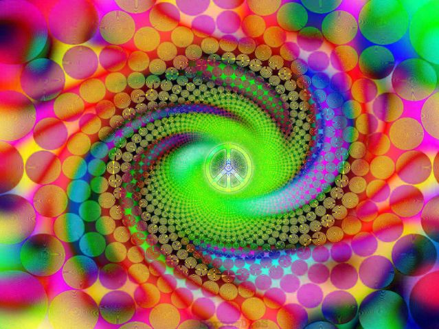 """The intense visual phenomena induced by psychedelic drugs have inspired some remarkable art Source: Psy - """"Pink"""" - Peace by sorrowdiess"""